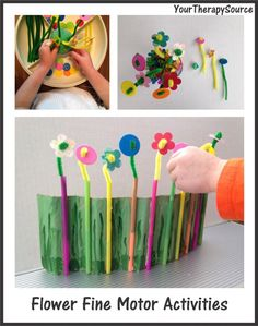 Flower Fine Motor Activities.  Visit pinterest.com/arktherapeutic for more #finemotor activity ideas