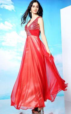 大胆で綺麗なデザイン Vネックレッド系高級ロングドレス♪ - ロングドレス・パーティードレスはGN|演奏会や結婚式に大活躍!