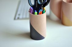 Leather Pencil Cup - Charcoal