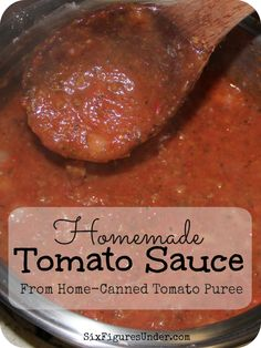 We use our home-canned tomato puree to make tomato sauce for spaghetti, for pizza, for lasagna, and more. We never buy pasta sauce from the store. Pureed Food Recipes, Canning Recipes, Pizza Recipes, Sauce Recipes, Beef Recipes, Vegetarian Recipes, Chicken Recipes, Spagetti Sauce, Spaghetti