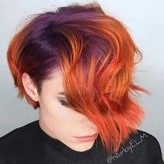 Purple and orange hair