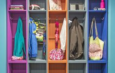 Color-Coded Alcove: Plentiful Coat Hooks