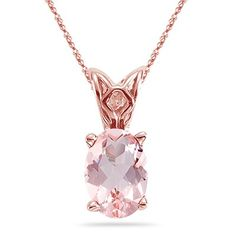 3.55-4.50 Cts of 12x10 mm AAA Oval Morganite Scroll Pendant in 14K Rose Gold
