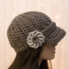 Crochet Hats for Women   Cotton Crochet Newsboy Hat with Flower - For Women - Taupe - Made to ...