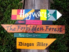 Harry Potter Themed Directional Signs, Harry Potter Party Decor, Hogwarts, Hogsmeade, Diagon Alley, The Forbiddden Forest, Kings Cross.. josh brought home extra wood!