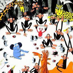 AU! #illustratie uit mijn nieuwe boek #picturebook #bijdeneusgenomen #newbook #illustration #prentenboek #Childrensbook #childart #animals #crab #camel #giraffe #monkey #monkeys #hedgehog #panter #ladybug #kakatua #mole by loes_riphagen