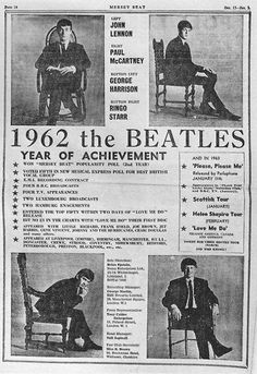 1962, The Beatles Year Of Achievement. Full Page Ad Taken Out By Brian Epstein In, 1962