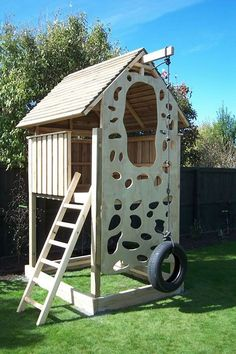 Love this climbing wall.no hand holds to fasten onto and the tire swing/ rope climber.makes more sense. Best Selection NZ Made Childrens Playhouse Playhouses kids play area clubhouses Backyard Fort, Backyard Playhouse, Backyard Playground, Backyard For Kids, Diy For Kids, Forts For Kids, Diy Easy Playhouse, Kid Forts, Wooden Playhouse