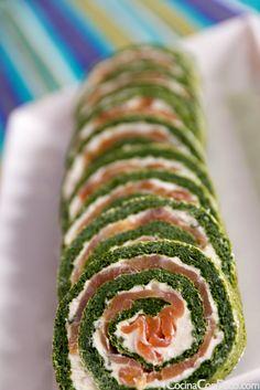 Rollo de salmon y espinacas - Receta paso a paso// Salmon and spinach rolls - Step by step recipe Appetizer Sandwiches, Appetizer Recipes, Appetizers, Vegetarian Recipes, Cooking Recipes, Healthy Recipes, Healthy Snacks, Healthy Eating, Food Porn
