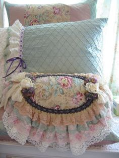 DIY..Easy Shabby Pillow ( Buy Thrift or Recycle old Pillow Cases then simply add by (sewing or glue) Lace, Ribbon, and Scrap Fabric Embellishments !