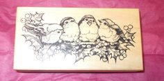 PSX K-1884 Birds on Holly rubber stamp wood mounted Holidays card making 1996 #PSX #ChristmasHolly