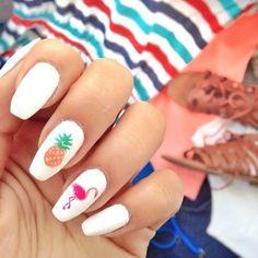 pinapple and flamingo nails
