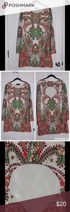 "Paisley dress Short dress with long sleeves. Fully lined. Zips in back. EUC. 33"" long (measured flat) fabrik Dresses"
