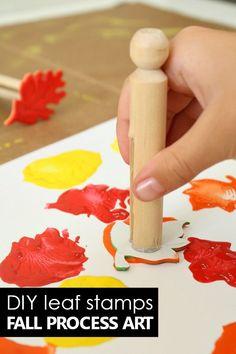 DIY Fall Art Stamps for Kids Preschool Process Art for Fall Art Projects for Kids Make your own super easy DIY Fall Art Stamps for Kids. Use them to create fall process art projects in preschool or kindergarten.
