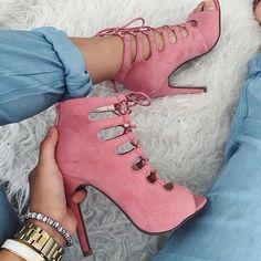 Pale Pink Suede Women Sandal High Heels Open Toe Lace-up Cross-tied Stilettos Shoes Women Size 15 Womens Shoes Pumps Sexy Stilettos, Schnür Heels, Pink Heels, Strap Heels, Suede Heels, Suede Booties, Stiletto Heels, Hot Shoes, Crazy Shoes