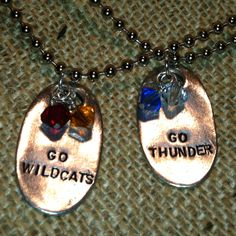 Support you local sports team! Great for little league, soccer, football, cheer, etc! Custom, hand-stamped jewelry by Jewel Kade. Www.jewelkade.com/khamilton to order! These are Magnolia Metals with Birthstone charms