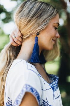 Blue tassel earrings (under $25!)