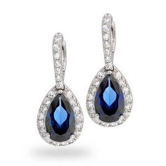 Bling Jewelry CZ Teardrop Pave Birthstone Dangle Earrings Rhodium Plated