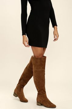 With leggings, jeans, or your favorite dresses, there's no one way to wear the Dolly Tan Suede Over the Knee Boots! OTK boots are made from vegan suede. Below The Knee Boots, Almond, Fashion Beauty, Outfit Ideas, Toe, Leggings, Autumn, Style Inspiration, Vegan
