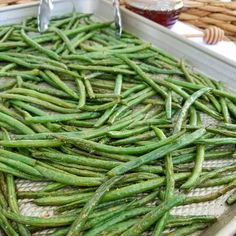 Honey Dijon Roasted Green Beans - Listen...I know these don't look like much...no fancy nuts, seeds, berries here... BUT trust me....they are SO FREAKING GOOD! I was popping them in my mouth like French fries, hot out of the oven this afternoon. Whether you're looking for a weeknight side dish, a Thanksgiving idea, or even...