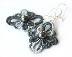 SALE  Tatted Lace earrings gray flowers tatting by LaceLadyOla, $10.00