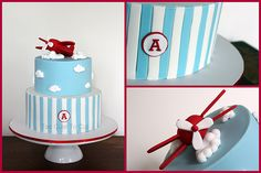 Time Flies  Vintage plane themed cake  www.facebook.com/toocutetocut