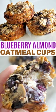 Blueberry Almond Baked Oatmeal Cups are easy to make and freeze well too. This is a great breakfast or snack idea full of fresh fruit and oats! Food Recipes For Dinner, Food Recipes Homemade No Bake Oatmeal Bars, Blueberry Oatmeal Muffins, Oatmeal With Fruit, Almond Muffins, Oatmeal Breakfast Bars, Baked Oatmeal Cups, Breakfast Cookies, Oatmeal Blueberry Muffins Healthy, Banana Oats