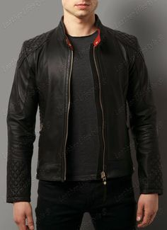 92727224b05 Details about New Men s Leather Jacket Black Slim fit Motorcycle Real  lambskin jacket D10