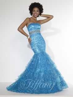 Sequined, strapless mermaid gown with lace-up back