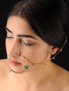 Classic Ivory-Fuchsia Nose Ring - Buy Jewelry > Fashion Jewelry > Classic Ivory-Fuchsia Nose Ring Online at Jaypore.com