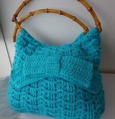 Blue Crochet Bag Aqua Turquoise Marine Nautical Shoulder Bag Handbag