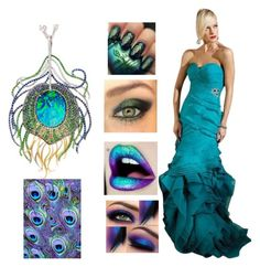 """""""Peacock"""" by rubysal ❤ liked on Polyvore featuring Blumarine, Lime Crime, Terani, Robert Pelliccia, WALL and contestentry"""