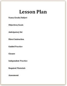 Sample Madeline Hunter Lesson Plan Format  Lesson Planning