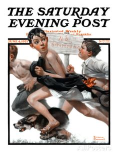 """No Swimming"" Saturday Evening Post Cover, June 4,1921 Giclee Print by Norman Rockwell at AllPosters.com"