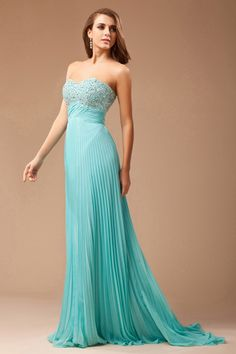Elegant Pleated Beading Strapless Chiffon A-line Formal Dress Sale Online - DRESSESMALL