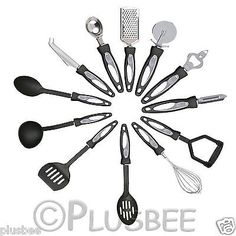 12pc piece stainless #steel cooking utensil set kitchen #gadget with nylon #handl,  View more on the LINK: http://www.zeppy.io/product/gb/2/401015859326/