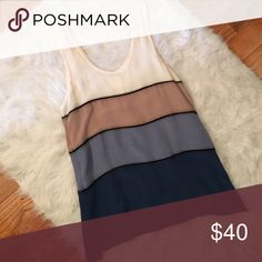 """Line & Dot Color Block Tank Color block tank from Line & Dot. Colors are ivory, beige, pale blue, and blue with black woven details. Approx. 26"""" in length at shortest part and 28"""" at longest part. Slightly high low hem. Size M. 100% silk. Line & Dot Tops Tank Tops"""