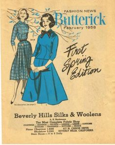 1950s Butterick Fashion News Pattern Flyer February 1958 8 Pages First Spring Ed | eBay