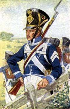 Wurtumberg Musketeer 5 Linear infantry Regiment of Prince Frederick (1813-15). Fig. H Knotel.