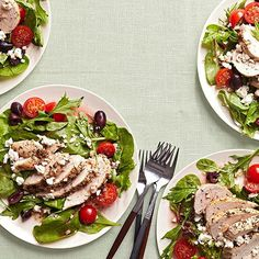 Mediterranean food is known for its fresh yet savory flavors, and this gorgeous chicken salad is no exception. It's soaked in thyme-infused OJ and garlic, and it offers plenty of protein (33 grams!) while keeping calories and carbs low.