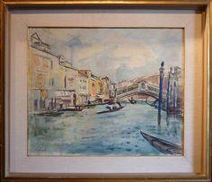 Venice, Rialto bridge - Fioravante Seibezzi - Italy Italian Paintings, Rialto Bridge, Venice, Vintage World Maps, Italy, 3, Art, Italia