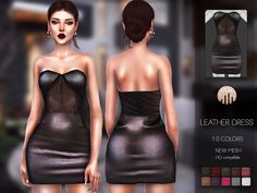 Leather Dress by busra-tr - The Sims 4 The Sims 4 Pc, Sims Four, Sims Cc, Sims 4 Male Clothes, Sims 4 Clothing, Clothes For Women, Sims 4 Cas Mods, Sims 4 Black Hair, Cc Fashion