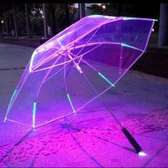 Buy New 8 Rib Light Up Blade Runner Style Color Changing LED Umbrella with Flashlight Transparent Handle Straight Umbrella Parasol Blade Runner, Transparent Umbrella, Umbrellas Parasols, Color Changing Led, Purple Aesthetic, Aesthetic Girl, Lame, Neon Lighting, Futuristic