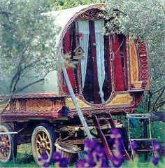 there is just something about this gypsy wagon that steals my heart....I'd love this as a playhouse :)