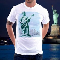 Egoteest, Liberty Rock! Cool Tee Positive Shirts, USA, Rock-n-Roll, Liberty Playing Guitar, New York, Graphic Unisex Tee Adult White Shirt