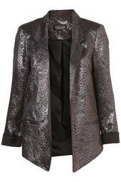 Pewter metallic blazer.