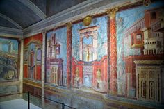 Wall paintings from the villa of P. Fannius Synistor in the ancient Roman city of Pompeii. The villa was buried due to ash from the eruption of Mount Vesuvius in 79AD.