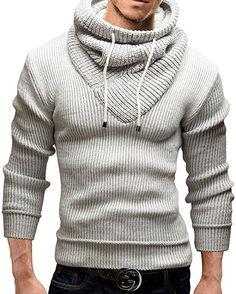 Merish Strickpullover Pullover Schalkragen Slim Fit Herren 50 Weiß S