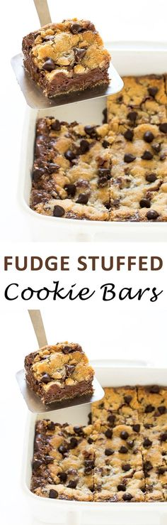 Fudge Stuffed Cookie Bars. Soft and Chewy cookie bars stuffed with a thick layer of homemade fudge sauce. | chefsavvy.com #recipe #fudge #cookie #bars #cookie #dessert