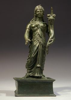ROMAN BRONZE ISIS-FORTUNA. 2nd Century AD. 7 inches tall.